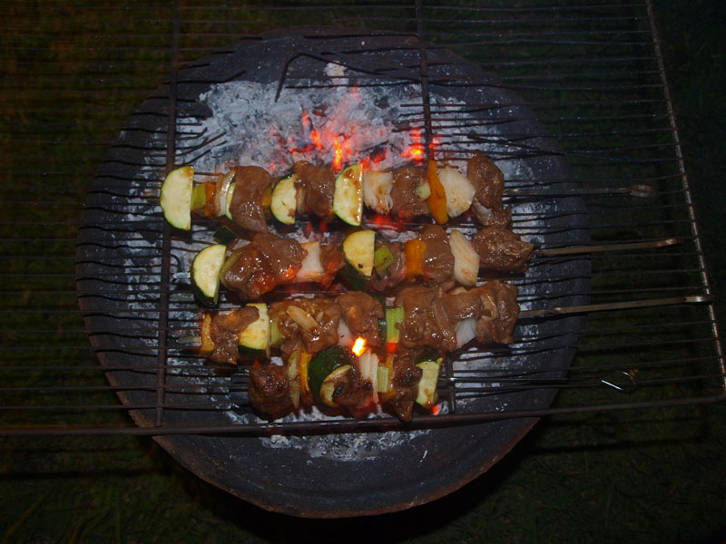 deer meat kebabs cooking on a coal pot