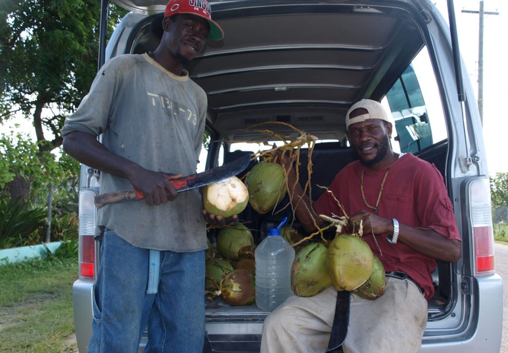 Jamoree and Majid selling coconut water