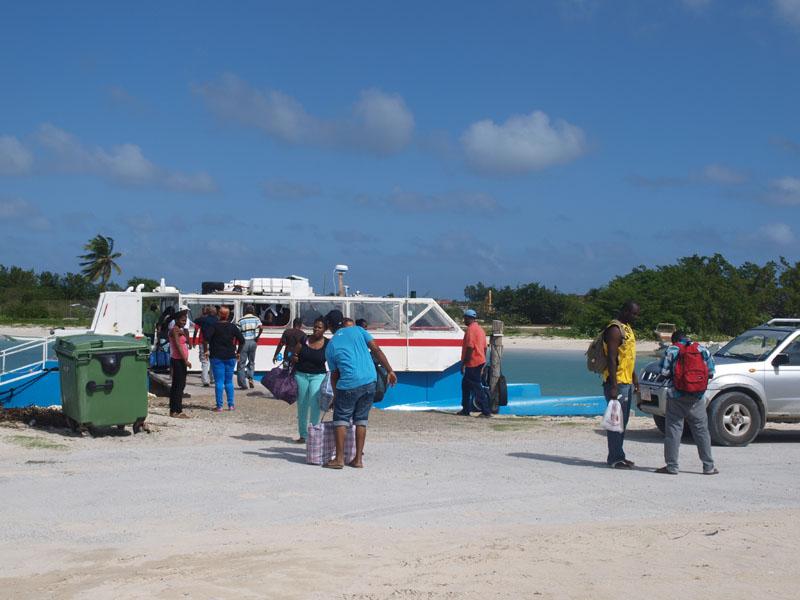 unloading the ferry in Barbuda